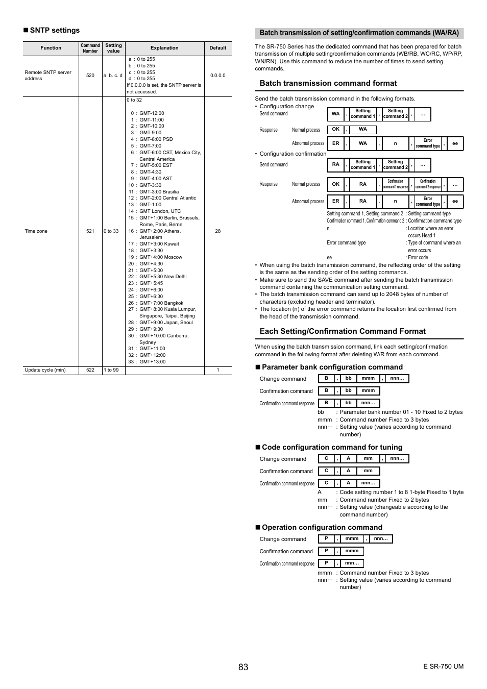 Batch transmission command format, Each setting