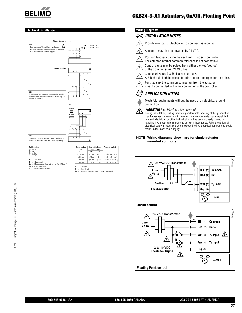 medium resolution of gkb24 3 x1 actuators on off floating point warning live electrical components g on off control off l aerco belimo f7 hd hdu series valve user