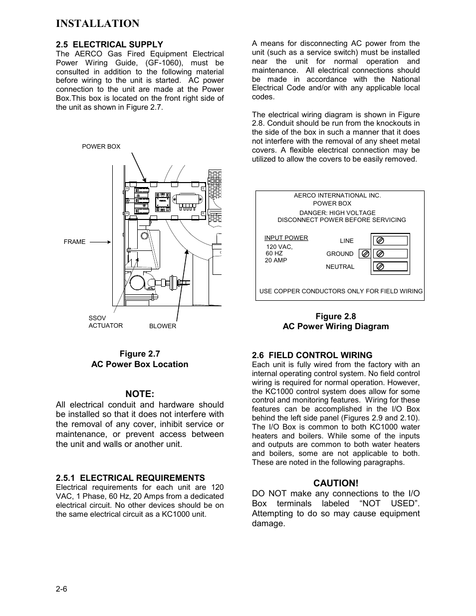 hight resolution of 5 electrical supply figure 2 7 ac power box location aerco kc series equipped with c more controller for massachusetts only user manual page 16 98