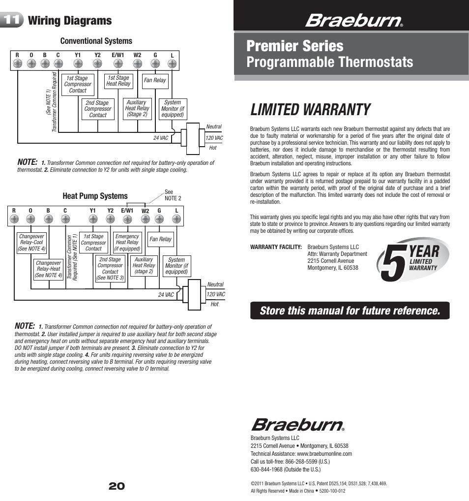 medium resolution of 5200 20 warranty limited warranty year braeburn 5200 user manual page 11 11