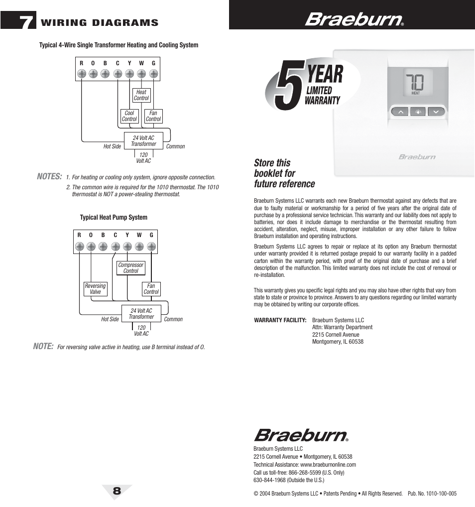 hight resolution of 1010 8 bck pdf store this booklet for future reference wiring diagrams braeburn 1010 user manual page 5 5