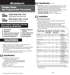 Braeburn 3200 User Manual | 7 pages | Also for: 3000