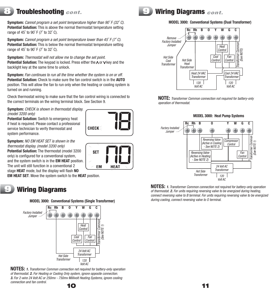 hight resolution of troubleshooting wiring diagrams braeburn 3200 user manual page 6 7