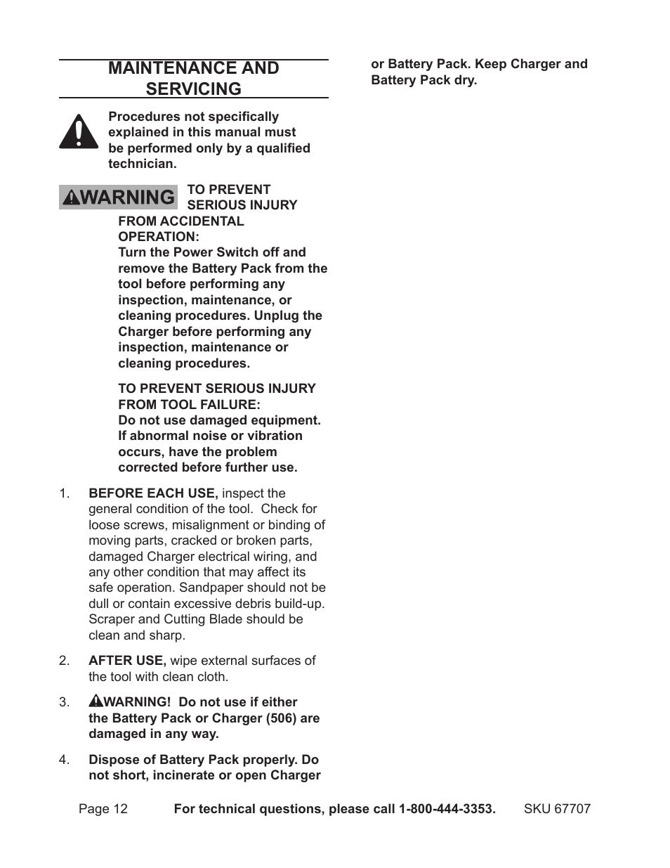 hight resolution of maintenance and servicing chicago electric 12v lithium ion multifunction tool 67707 user manual page 12 15
