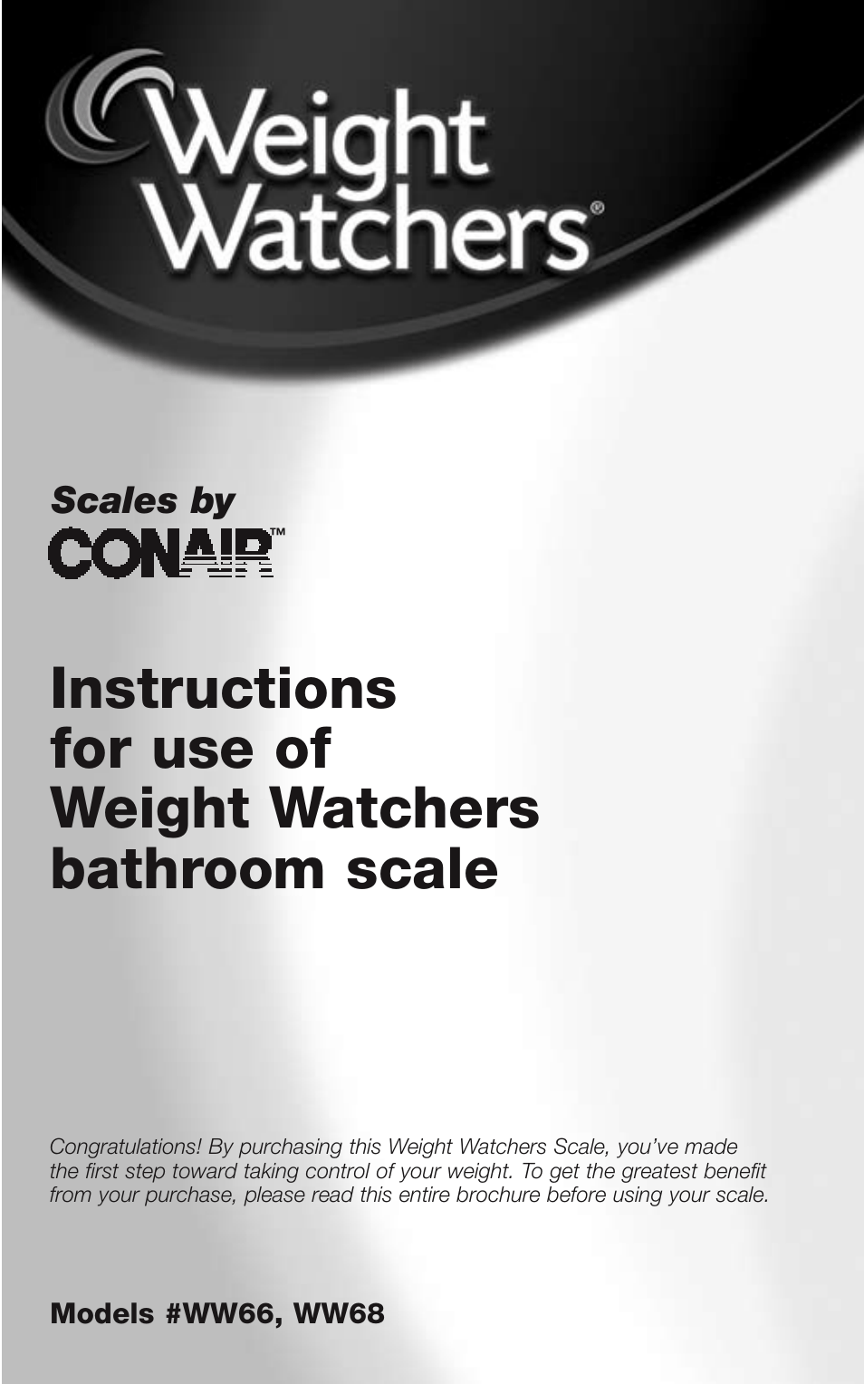 Conair WEIGHT WATCHERS BATHROOM SCALE WW66 User Manual