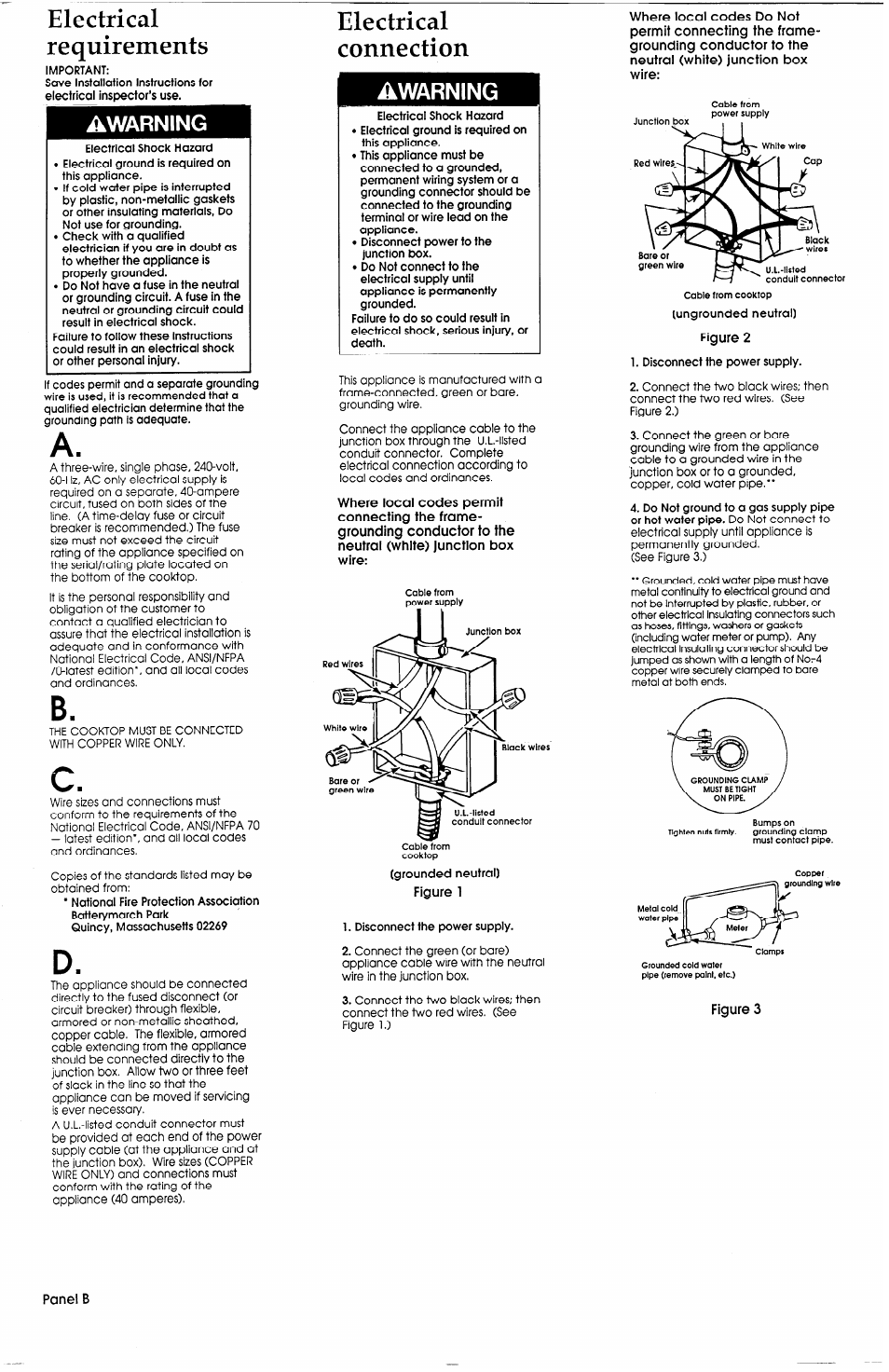 Electrical requirements, Electrical connection, Warning