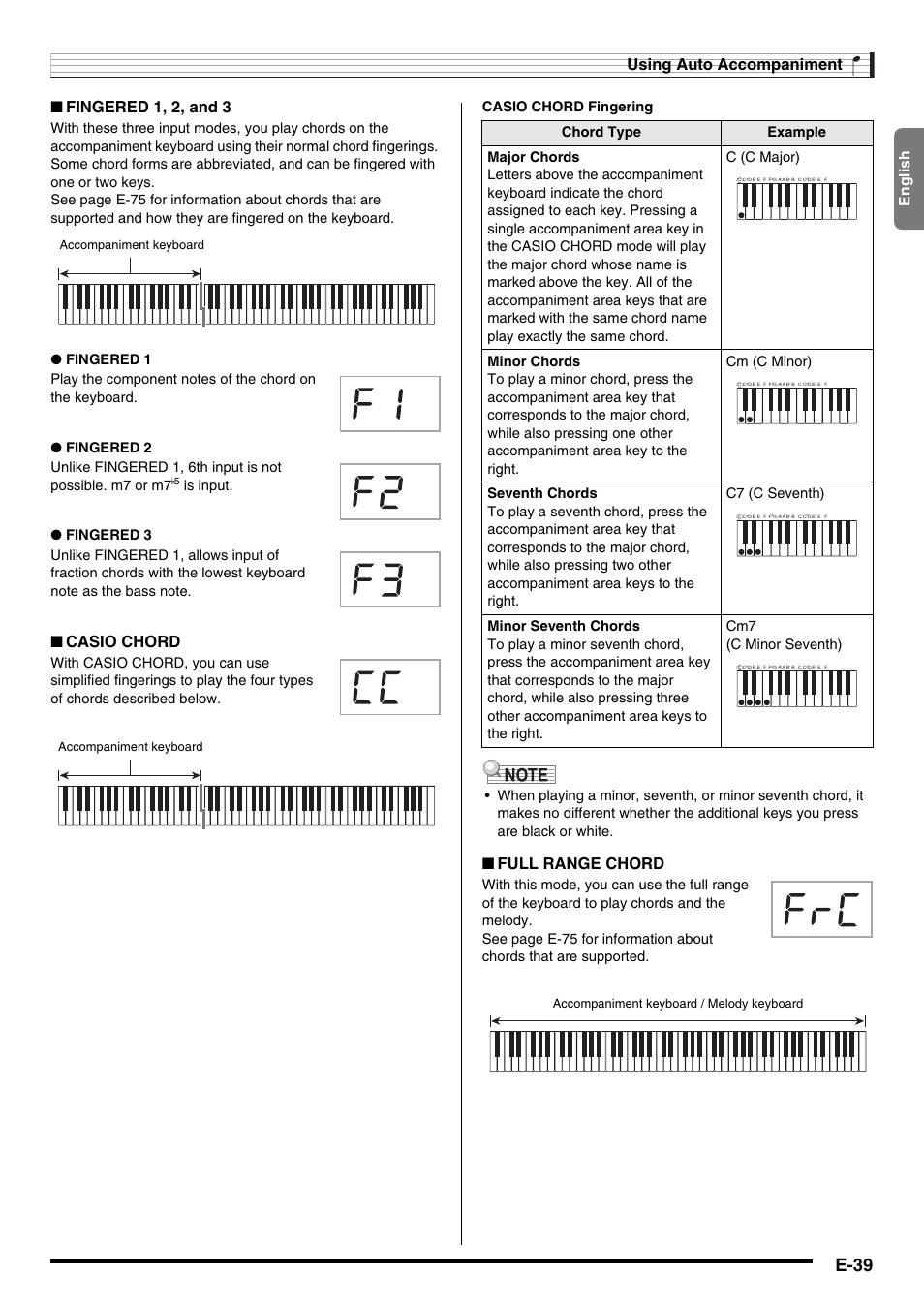 E-39, Using auto accompaniment, Fingered 1, 2, and 3