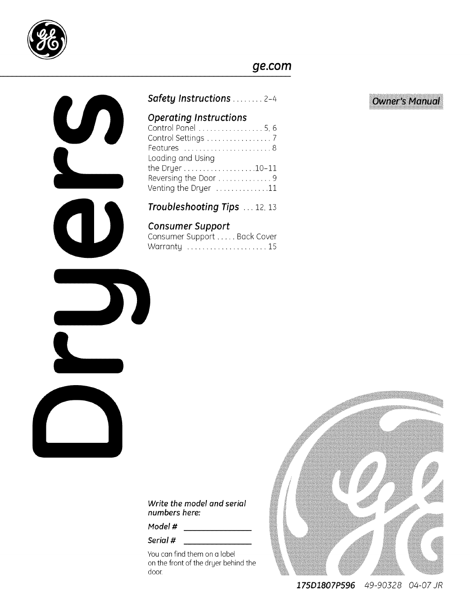 hight resolution of ge front load dryer manual