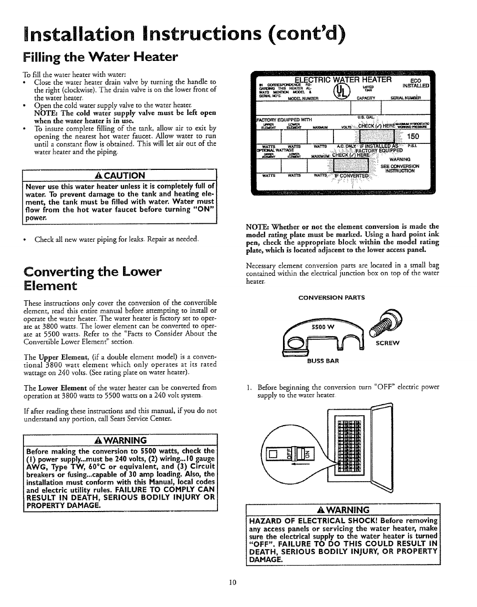 medium resolution of installation instructions cont d filling the water heater a caution kenmore 153 327366 user manual page 10 32