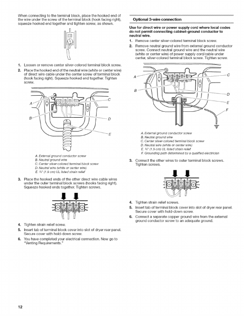 small resolution of optional 3 wire connection kenmore elite oasis steam 110 6808 user manual page 12 60