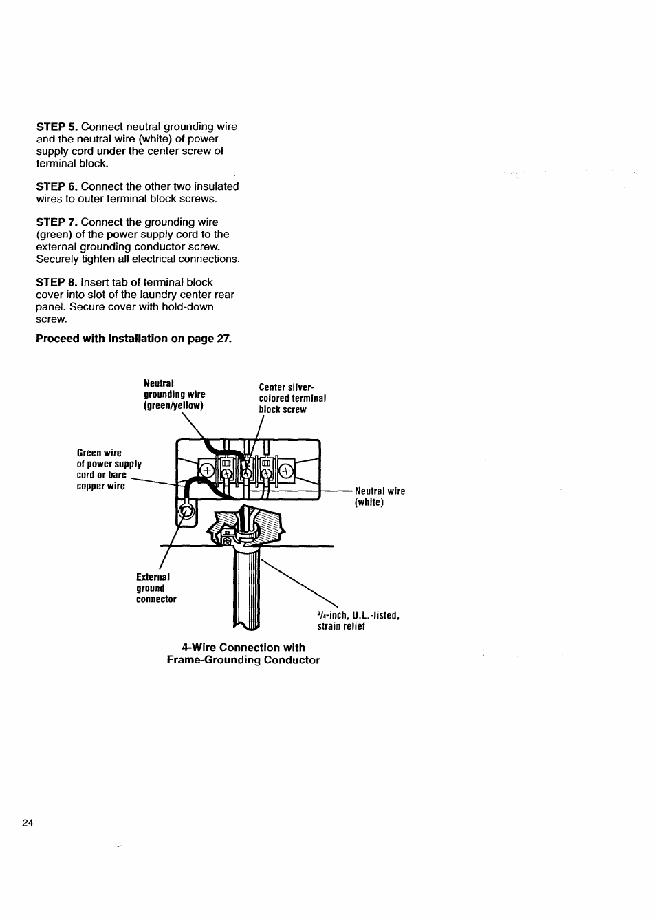 medium resolution of wire connection with frame grounding conductor kenmore washer dryer user manual page 24 66