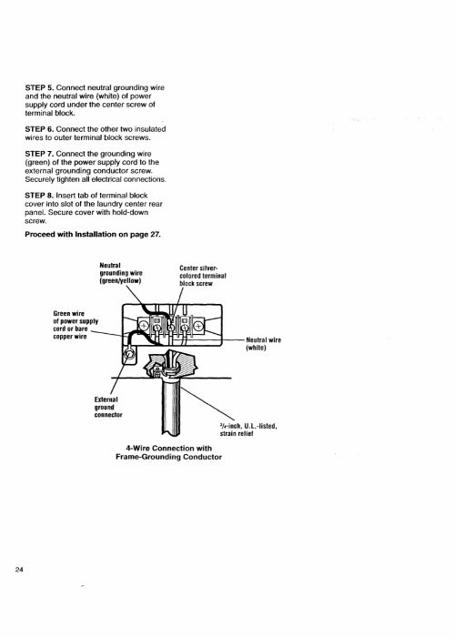 small resolution of wire connection with frame grounding conductor kenmore washer dryer user manual page 24 66