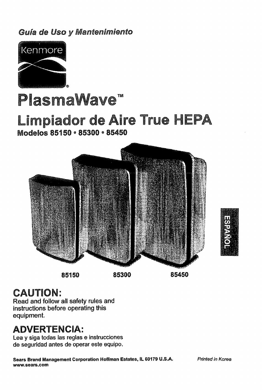 Plasm a wave, Limpiador de aire true hepa, Caution