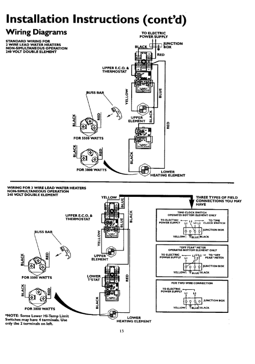 small resolution of water heater wiring requirements 38003800 wiring diagram database installation instructions cont d