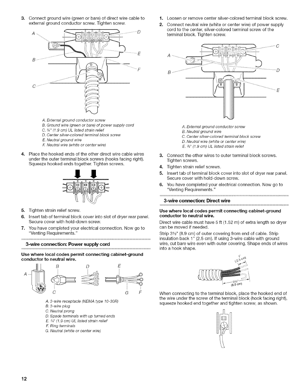 hight resolution of wire connection power suppiy cord wire connection direct wire kenmore 110 8509 user manual page 12 60