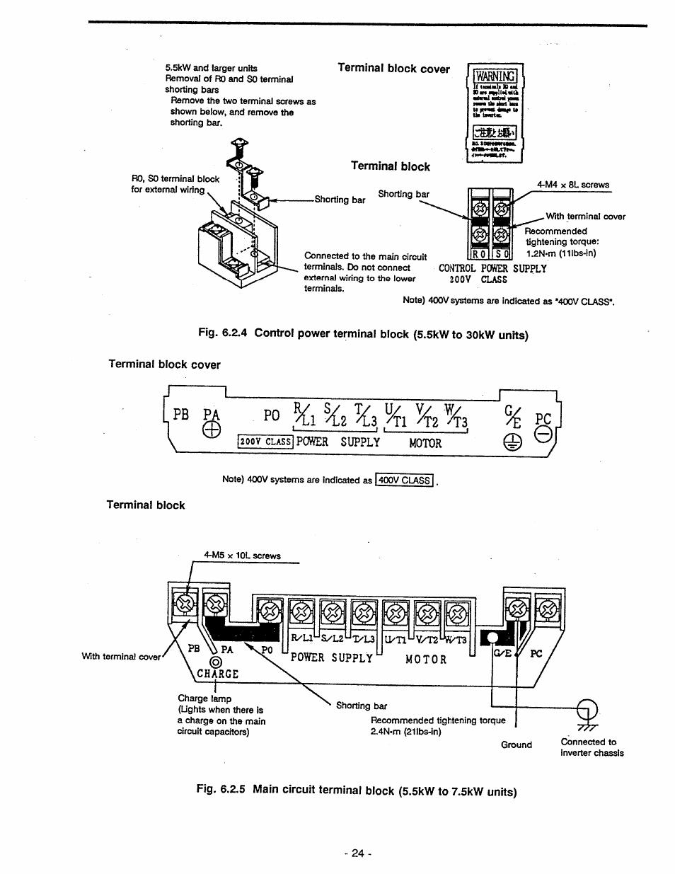 medium resolution of terminal block cover terminal block 200v class power supply motor pb