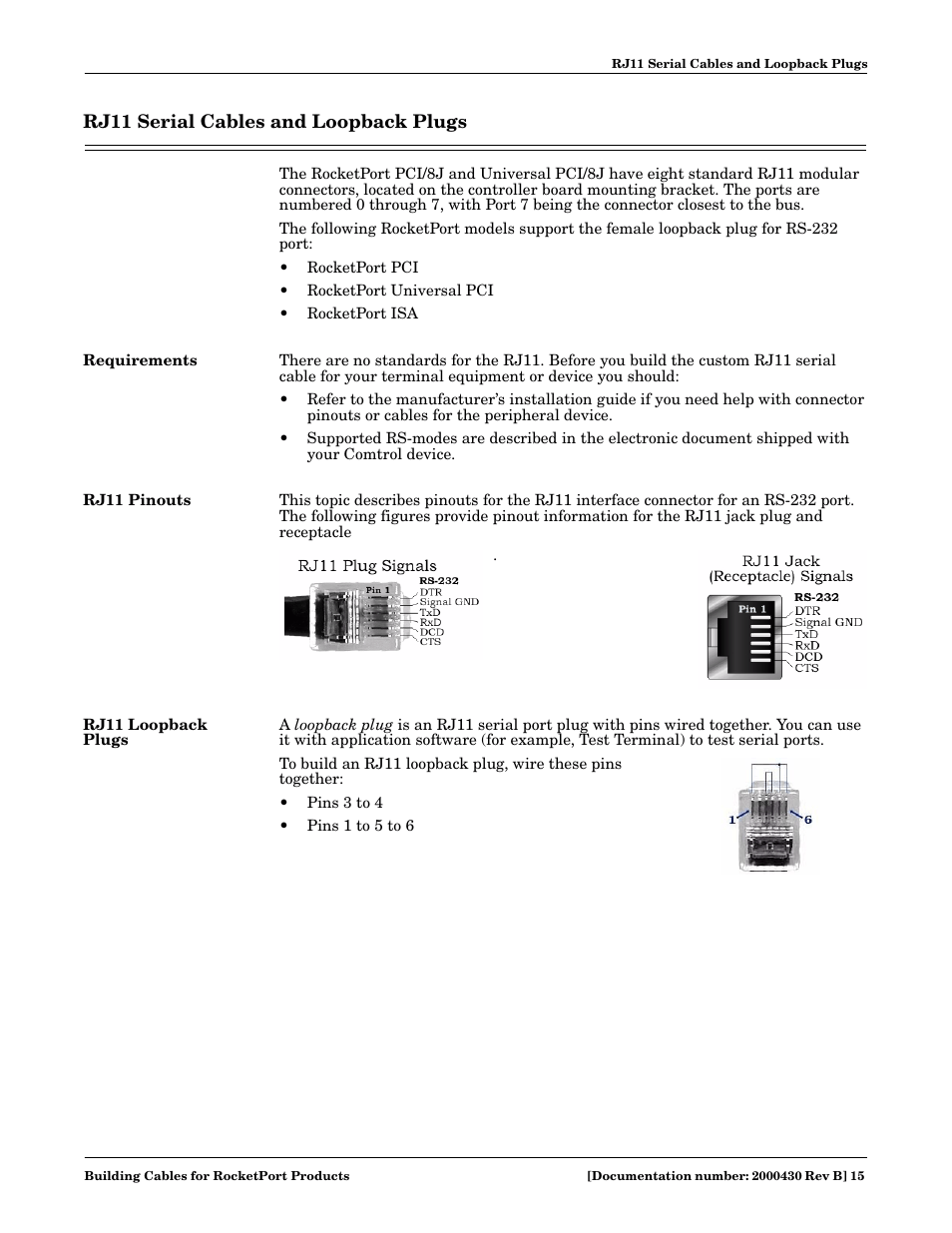 hight resolution of rj11 serial cables and loopback plugs requirements rj11 pinouts comtrol cable user manual