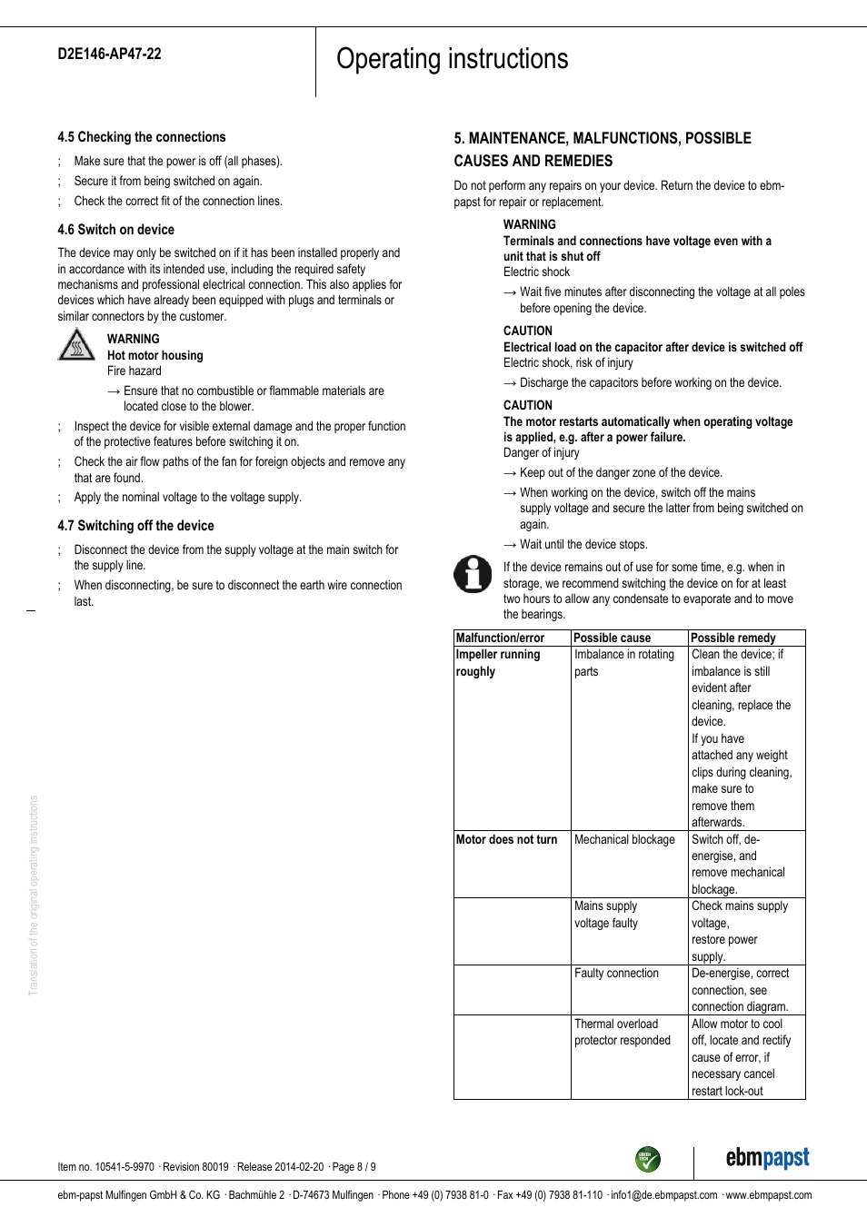 hight resolution of operating instructions ebm papst d2e146 ap47 22 user manual page 8