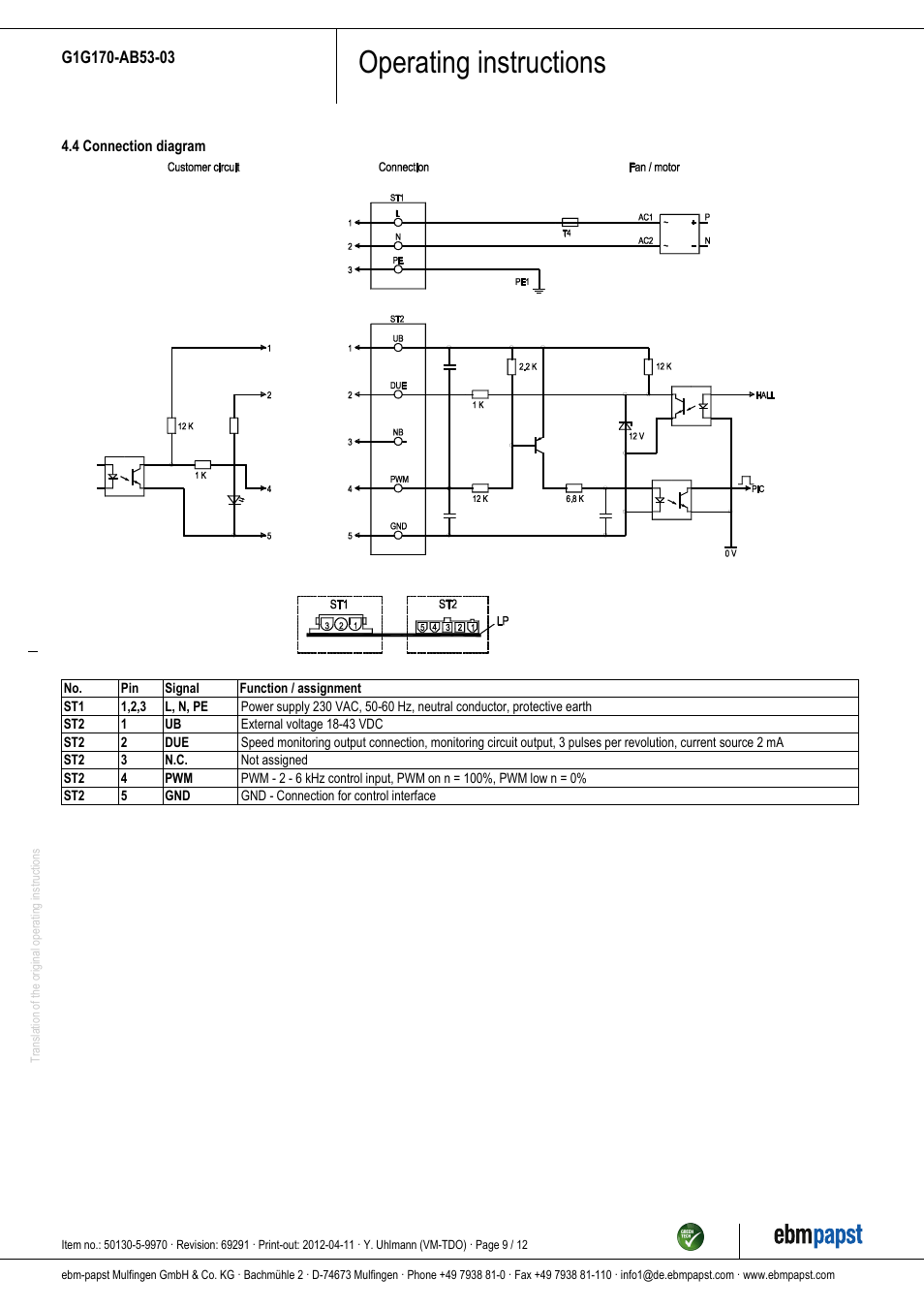 medium resolution of operating instructions ebm papst g1g170 ab53 03 user manual page ebm motors and fans wiring diagram