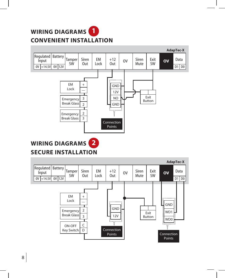 medium resolution of wiring diagrams convenient installation wiring diagrams secure installation fingertec adaptec x user manual page 8 15