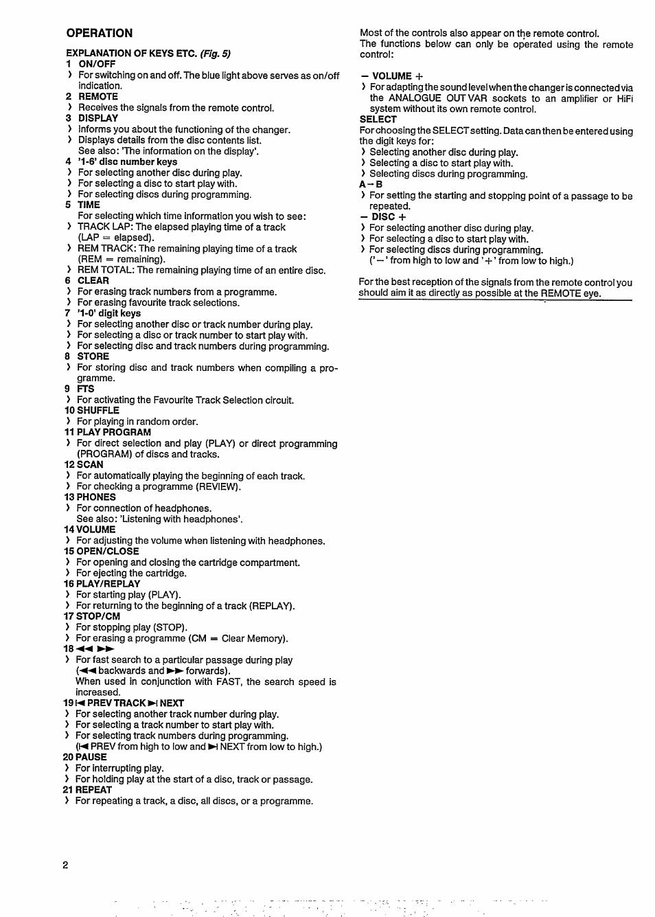 Operation, Explanation of keys etc. (fig. 5), 1 on/off
