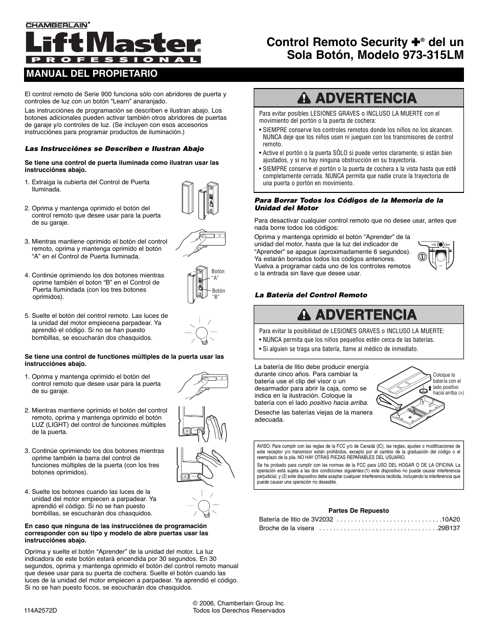 Spanish, Control remoto security, Manual del propietario