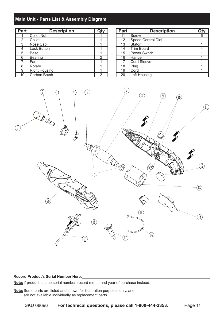 hight resolution of chicago electric rotary tool kit 68696 user manual page 11 12 chicago electric parts diagrams
