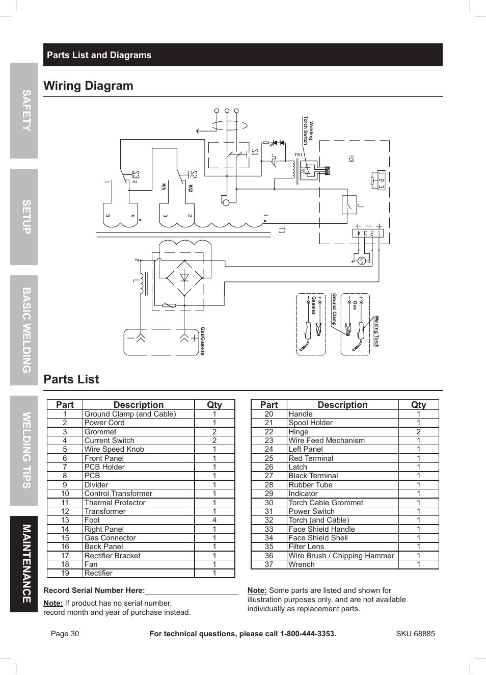 hight resolution of wiring diagram parts list chicago electric wire feed welder mig 170 user manual page 30 32