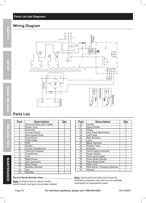 small resolution of wiring diagram parts list chicago electric wire feed welder mig 170 user manual page 30 32