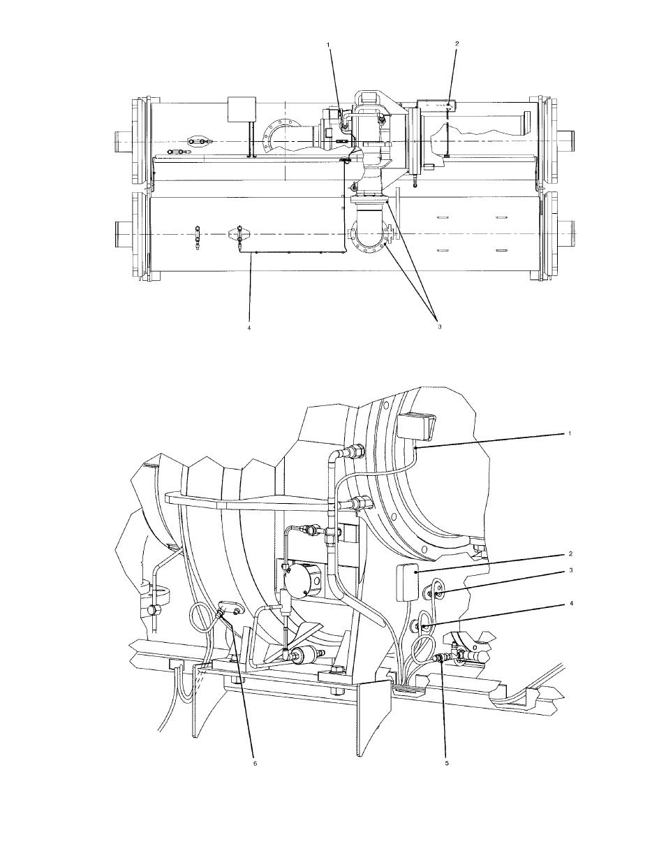 Fig. 7 — 19xr chiller top view, Fig. 8 — compressor detail