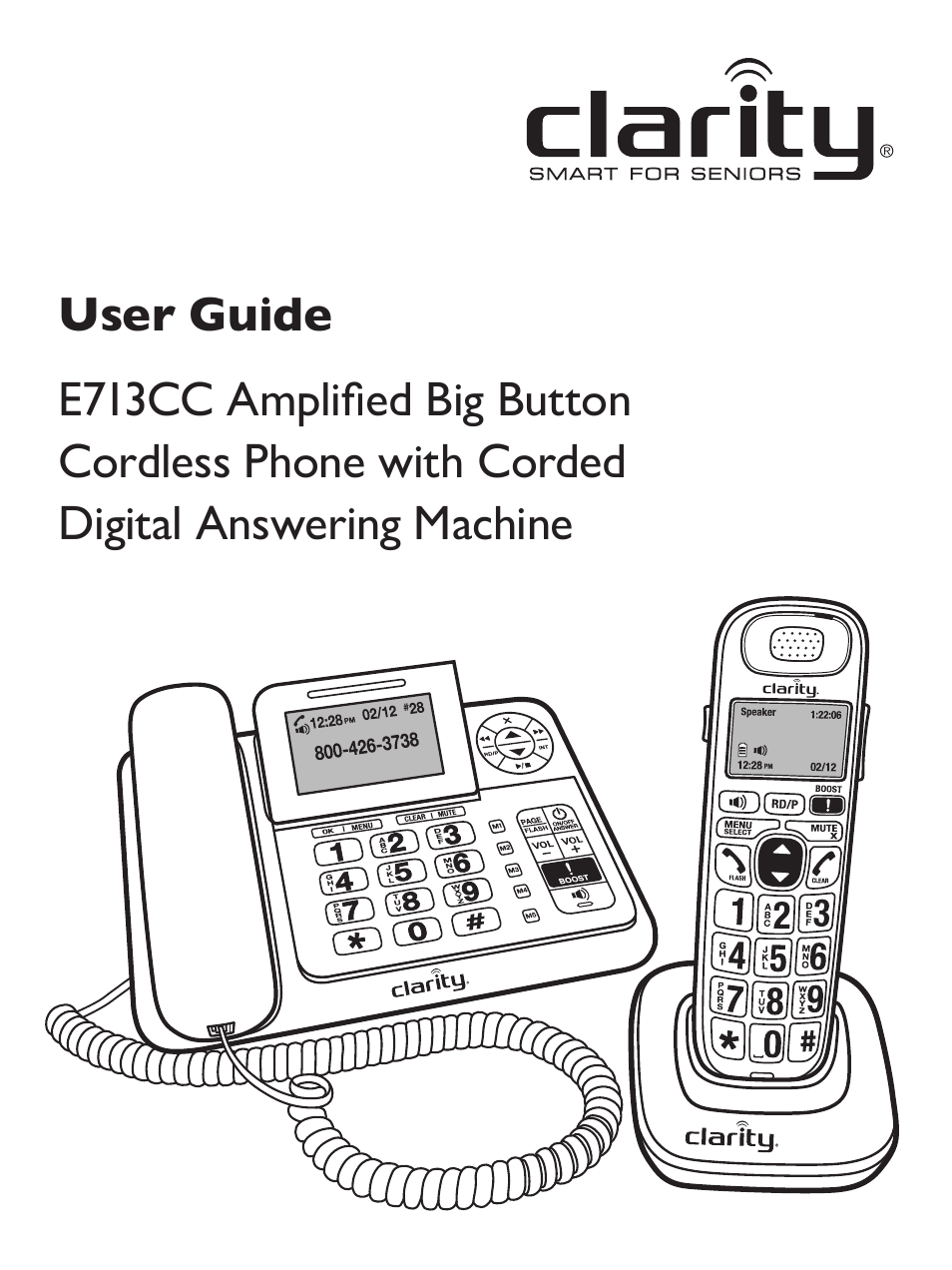 Clarity Amplified Big Button Cordless Phone with Corded
