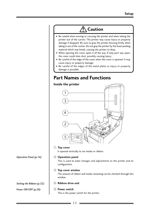 small resolution of part names and functions inside the printer caution citizen cl s700 user
