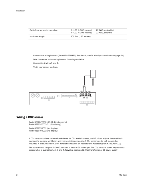 small resolution of wiring specifications to wire an oat sensor to the controller wiring a co2 sensor carrier rtu open 11 808 427 01 user manual page 30 88