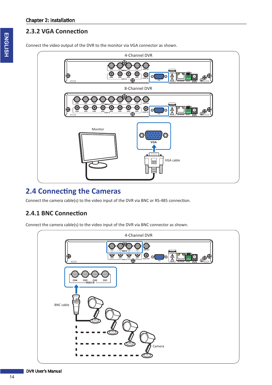 hight resolution of 2 vga connection 4 connecting the cameras 1 bnc connection english chapter 2