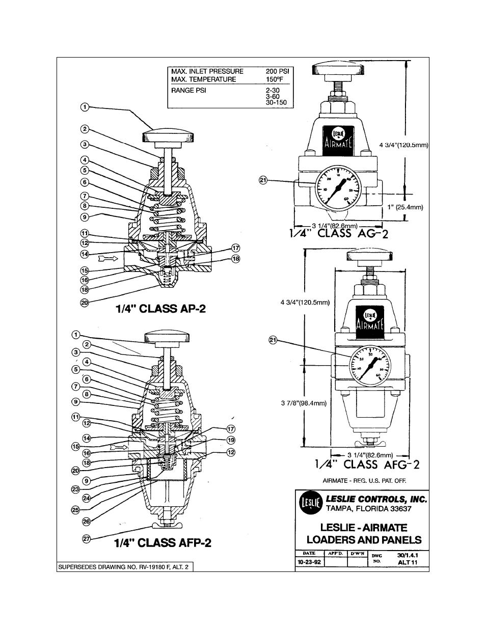 Leslie Controls AFG-2, etc small flow airmate pressure