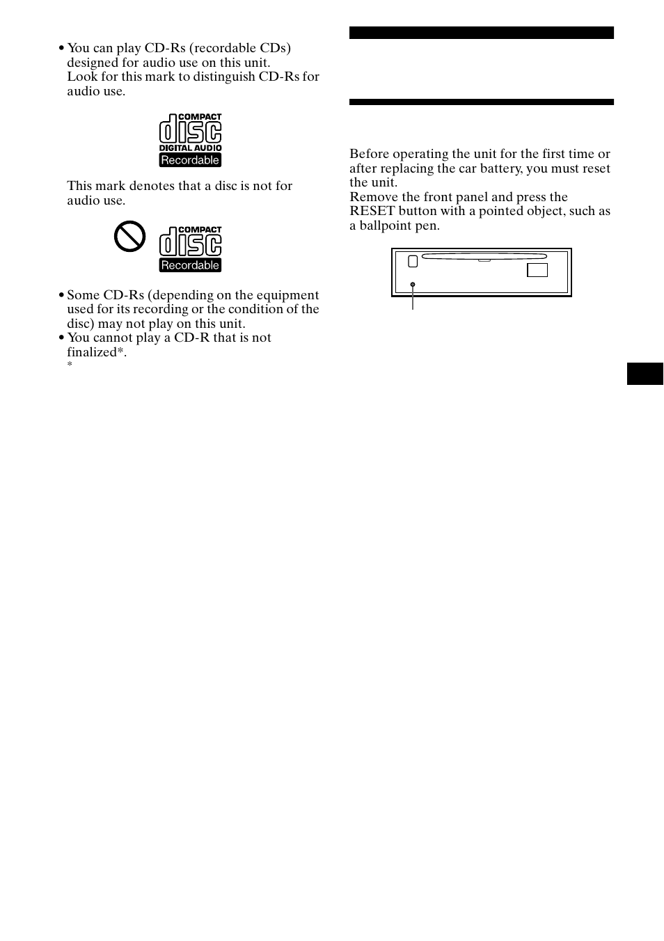 hight resolution of getting started resetting the unit sony cdx ca650x user manual page 7