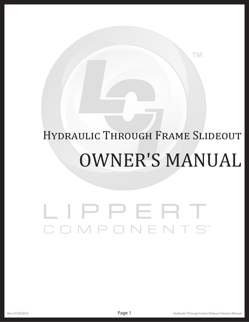 Lippert Components Hydraulic Through Frame Slideout User