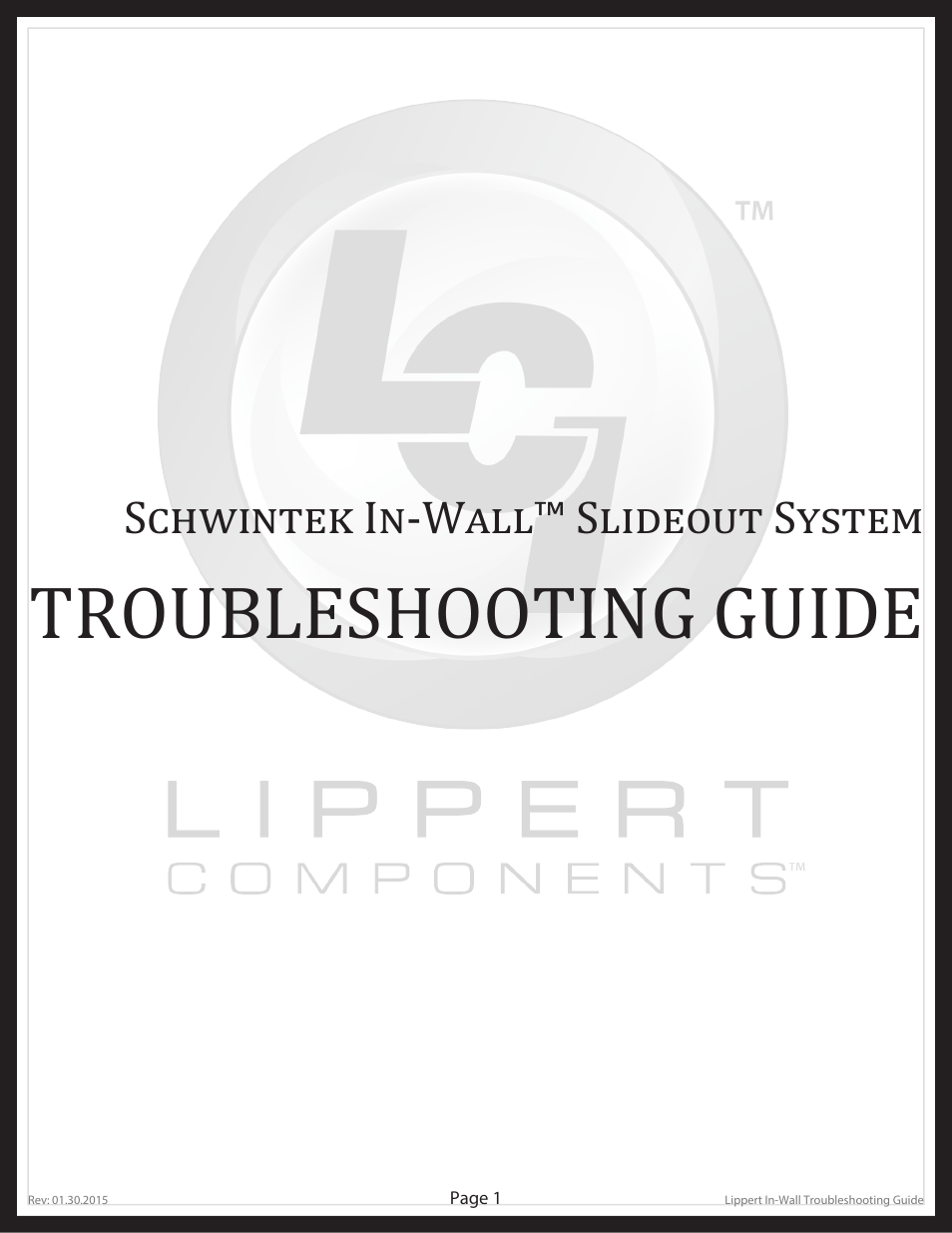 Lippert Components Schwintek In Wall Slide-Out System User