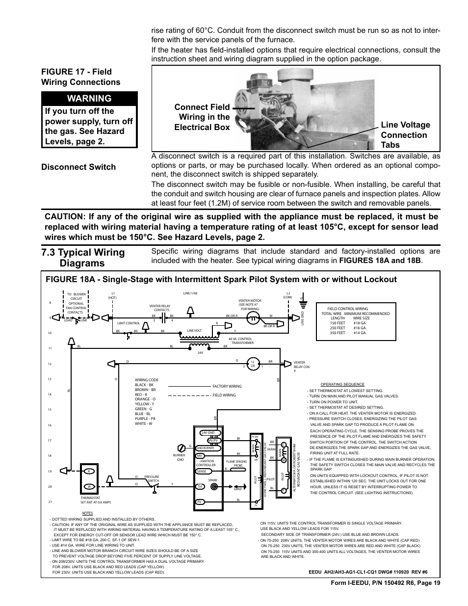 medium resolution of 3 typical wiring diagrams warning reznor eedu unit installation manual user manual page 19 32