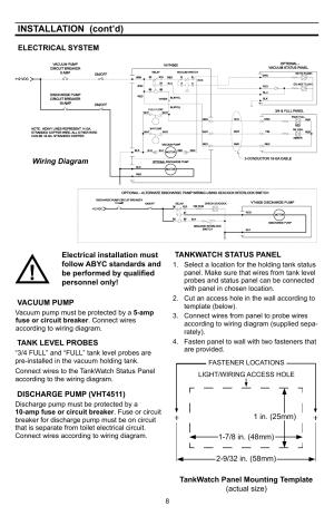 Installation (cont'd) | SeaLand VHT 4500 Holding Tank  140 Series VacuFlush Toilet User Manual
