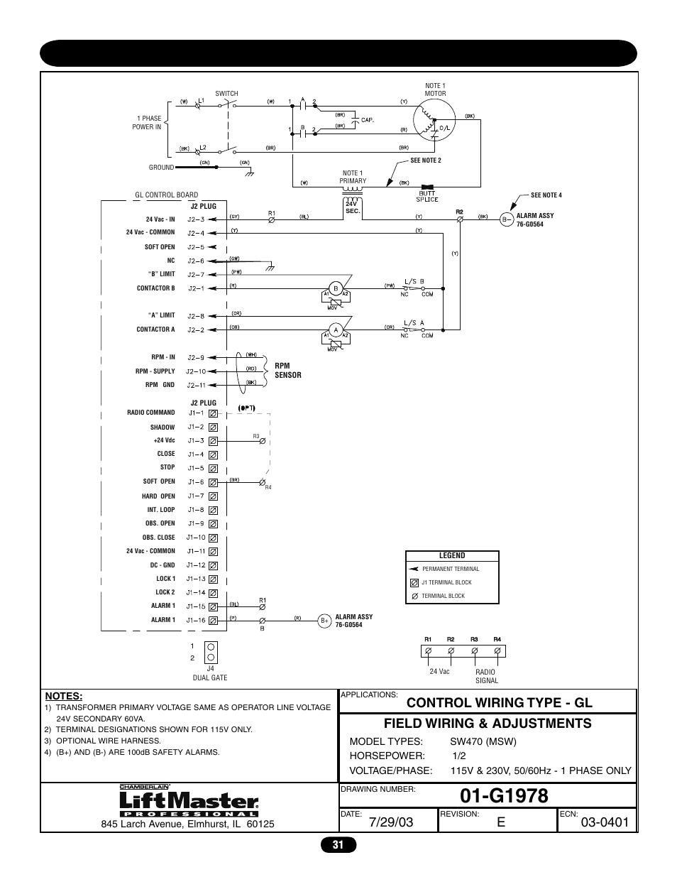 hight resolution of single phase wiring diagram sw470 g1978 chamberlain liftmaster lift master wiring diagram single phase