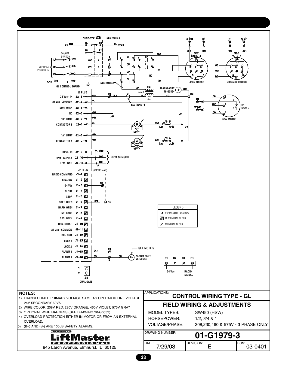 medium resolution of three phase wiring diagram sw490 chamberlain liftmaster professional sw470 user manual page