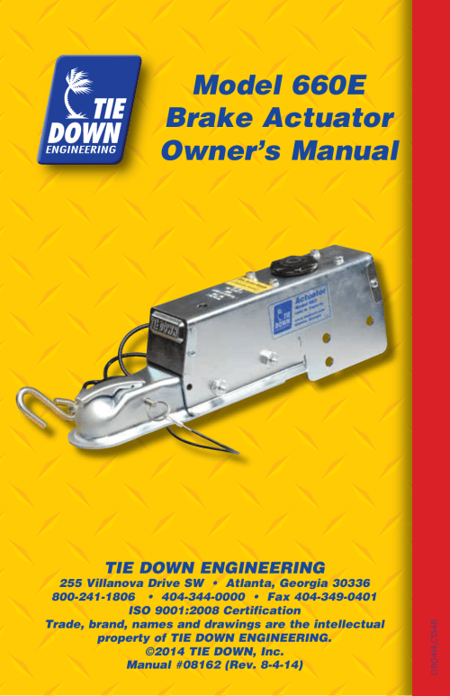 small resolution of model 660e brake actuator owner s manual tie down 660e user manual page 16 16