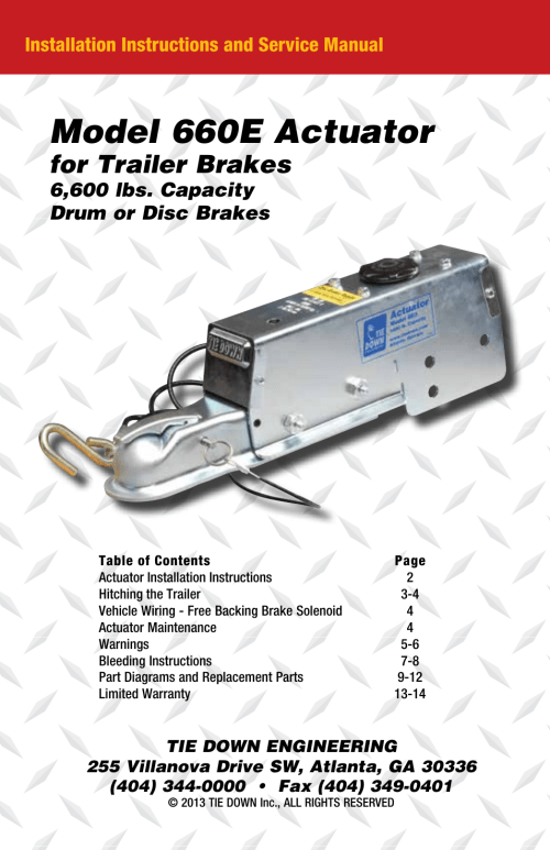 small resolution of model 660e actuator for trailer brakes installation instructions tie down actuator wiring diagram