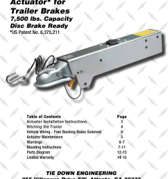 model lp750 actuator for trailer brakes installation instructions and service manual 7 500 lbs capacity disc brake ready tie down lp750 user manual  [ 954 x 1475 Pixel ]