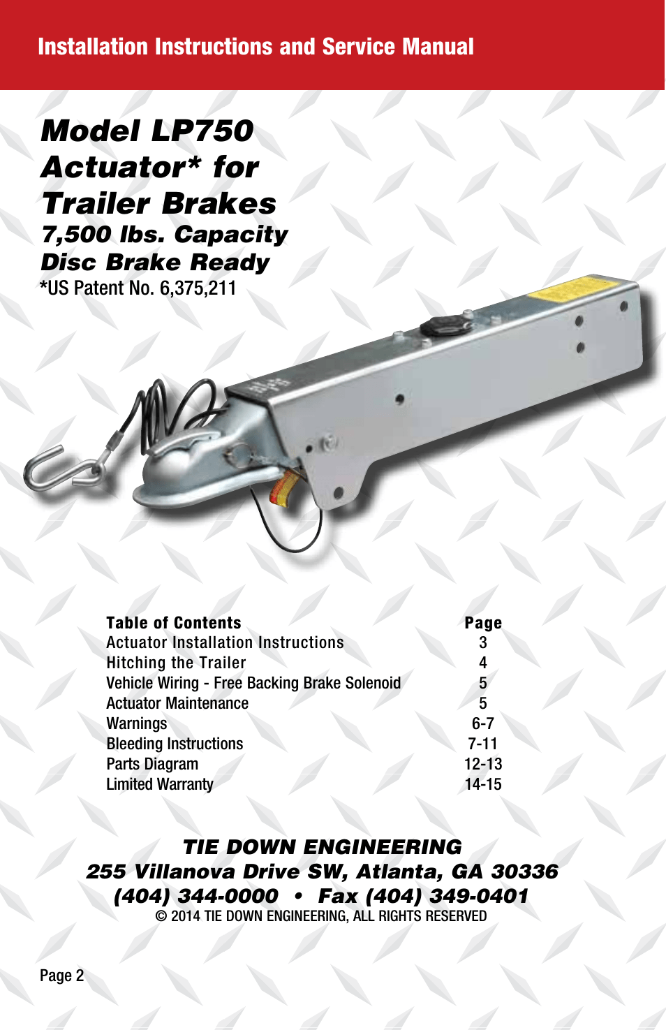 hight resolution of model lp750 actuator for trailer brakes installation instructions and service manual 7 500 lbs capacity disc brake ready tie down lp750 user manual