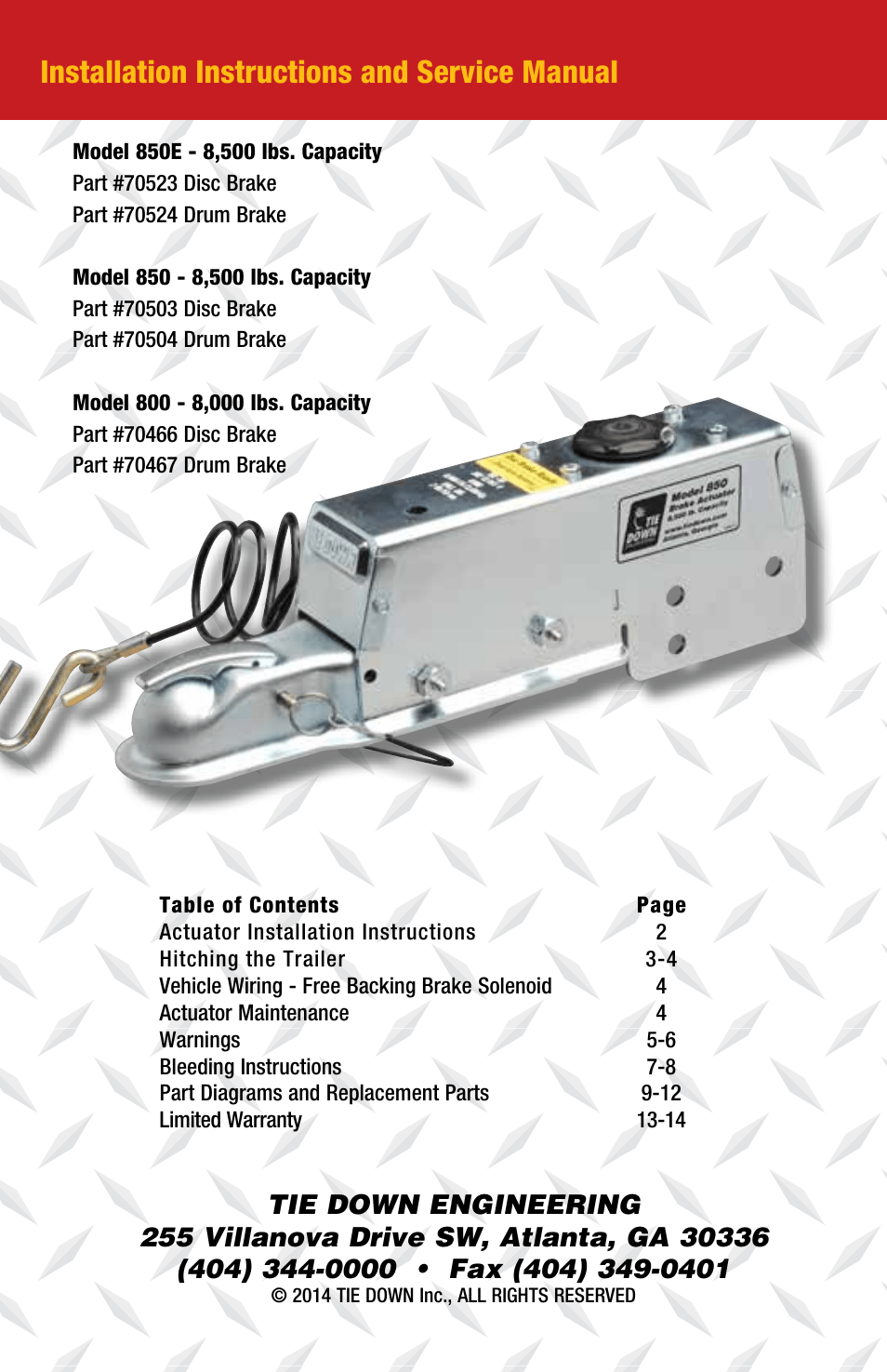 hight resolution of installation instructions and service manual tie down 850e user input module wiring diagram tie down actuator wiring diagram