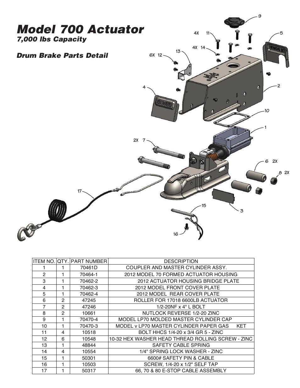 Model 700 actuator, 7,000 lbs capacity drum brake parts
