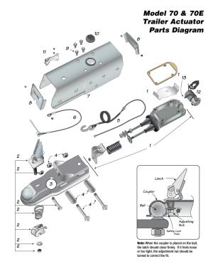Model 70 & 70e trailer actuator parts diagram   Tie Down