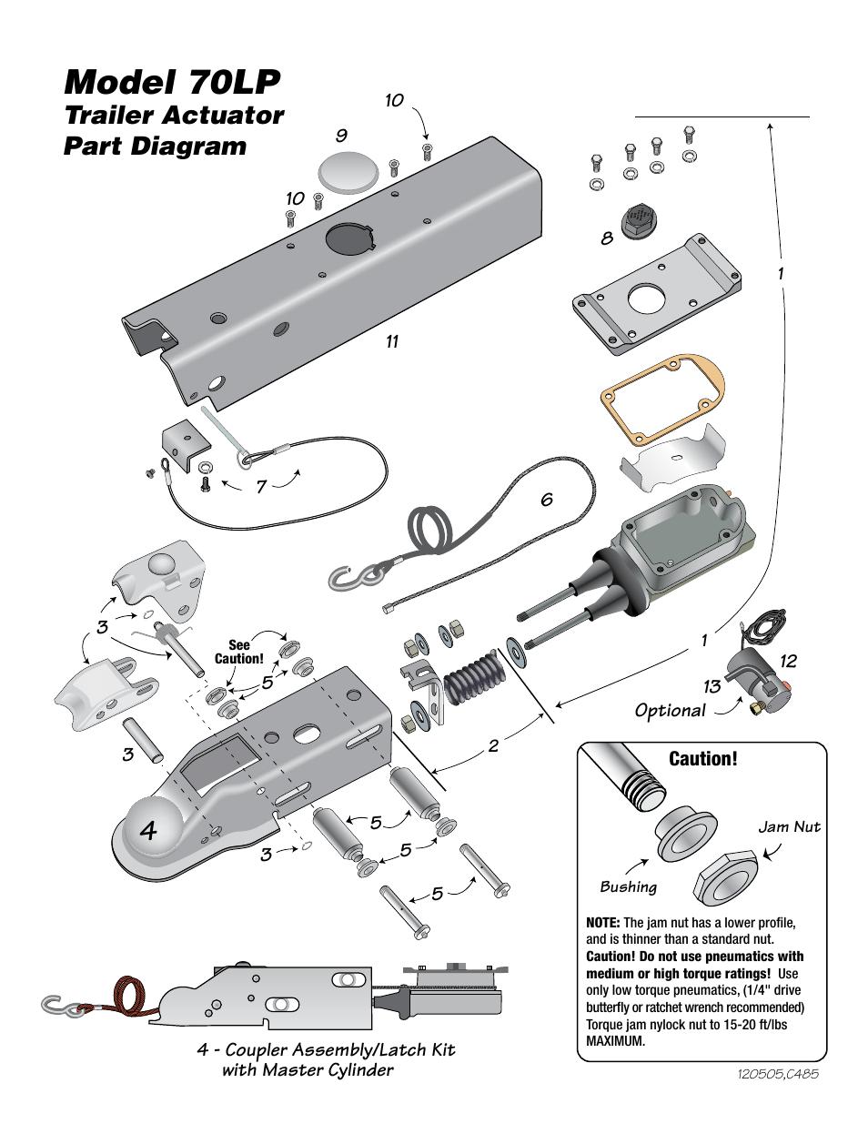 hight resolution of model 70lp model 70lp actuator parts list trailer actuator part diagram tie down 70lp user manual page 4 8